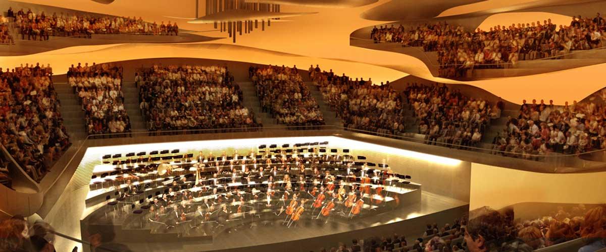Vue aérienne du chantier de la Philharmonie de Paris